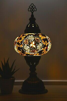 Turkish Mosaic Lamps Golden Brown Colour Authentic Handmade Bedside Table Lights