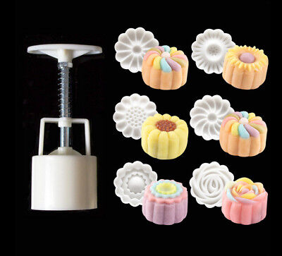 Brand New 6 Style Hot Round Flower Moon Cake Mold Mould White Set Mooncake Decor