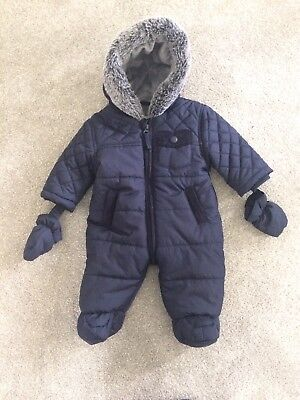 Baby Boys Navy Quilted Snowsuit With Mittens Newborn First Size