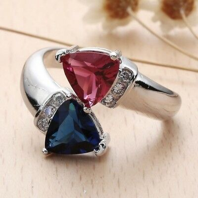 Red Ruby Blue Simulated Sapphire Heart-shaped Two Stone 925 Silver Plated Ring