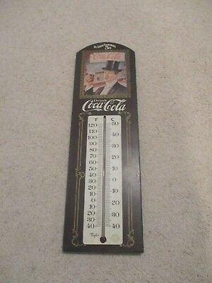Vintage 1981 Coca Cola Wood Thermometer Sign