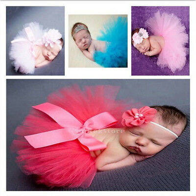 Cute Newborn Headdress Flower+Tutu Clothes Skirt Baby Girls Photo Props Outfits
