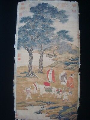 """Large Old Chinese Hand Painting Landscape Figures """"DingYunPeng"""" Mark"""
