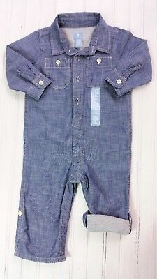 Boys GAP Denim Jersey Lined Playsuit All-in-One Overalls 0-3/12-18/18-24 Mths BN