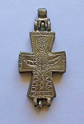 BYZANTINE SILVER CROSS ENCOLPION (10th-12th c.).A PIECE OF ART, GREAT CONDITION!