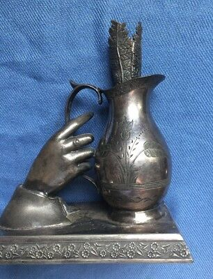 Victorian Figural Wilcox Epergne Shape of a Hand Holding A Pitcher