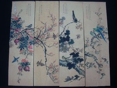"""4Pcs Large Old Chinese Hand Painting Flowers Birds """"HanTing"""" Mark"""