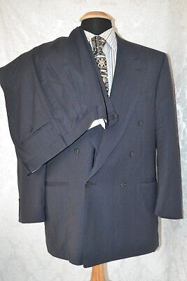 Canali Milano Men's Navy Blue Double Breasted Suit Size 42 Waist 35