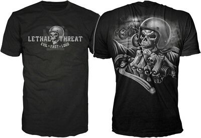 Lethal Threat Mens Adult Skull Crew Short Sleeve S/S T-Shirt Black XL