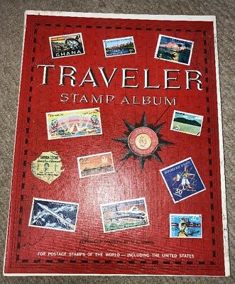 Traveler Stamp Album Collection 1960's with 259 Various Stamps