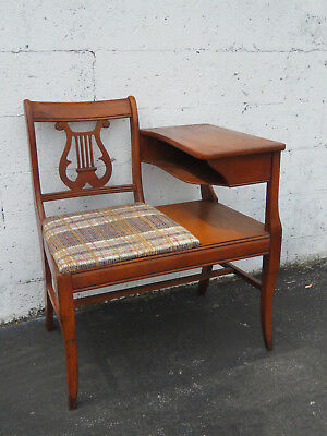 1940s Harp Shape Cherry Telephone Gossip Table with a Chair 9093