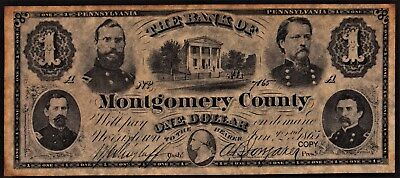 1865 $1 The Bank of Montgomery County - Norristown, Pennsylvania (COPY)