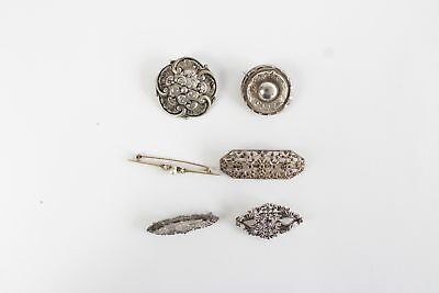 6 x Vintage .925 STERLING SILVER Brooches Mixed Inc. Marcasite & Amethyst - 41g