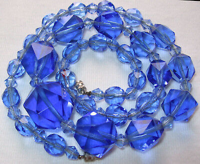 Beautiful Antique Vintage Art Deco Blue Crystal Glass Beads Necklace Lovely Cut