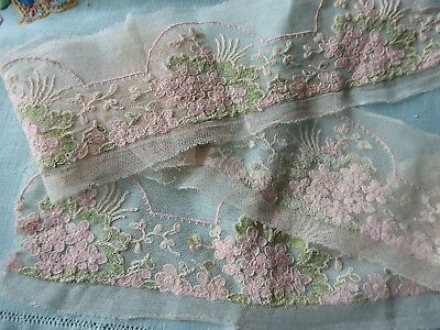 Vintage/antique  Embroidered  French Lace- Soft Green & Pink 38 '' (97 Cms)