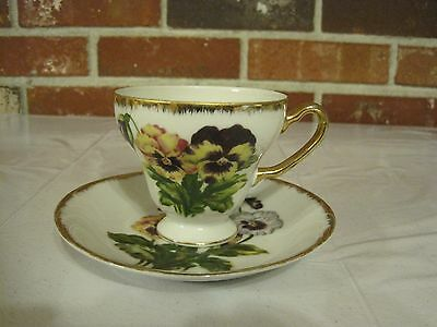 Vintage Royal Crown Cup And Saucer With Pansy Design And Gold Trim
