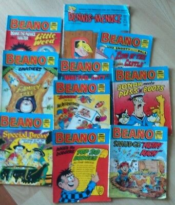 Beano Comics X 9 Issues of the Beano + 1 Issue Dennis the Menace from 1976