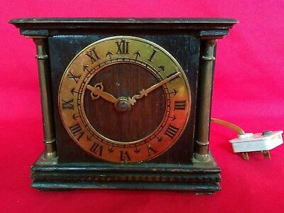Vintage Or Antique Wooden & Brass Smiths  Electric Mantle Clock