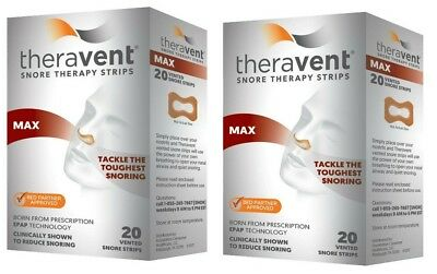 Theravent Snore Therapy Strips, MAX Strength - SET OF (2) 20 ct = 40 Strips!