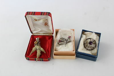Lot of 3 x Vintage .925 Stamped SCOTTISH BROOCHES inc Grouse Foot, Thistle