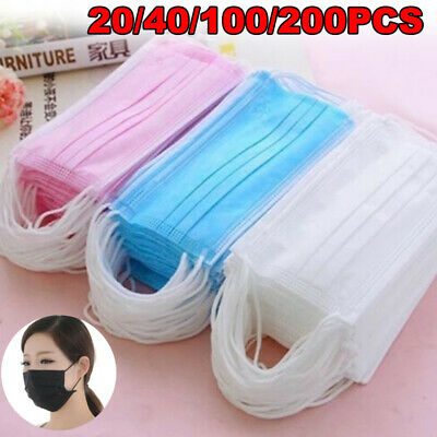 Disposable 3 Ply Surgical Dental Nail Salon Dust Medical Face Mask 20 40 100 200