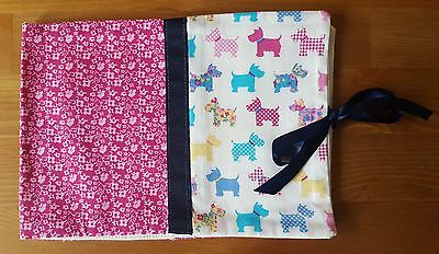 Handmade Baby Health Record Book Cover for the Red NHS Book-Scotty Dogs-White