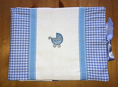 Handmade Baby Health Record Book Cover for the Red NHS Book - Blue Pram