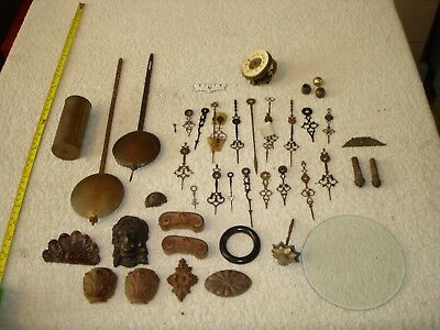 Job Lot Old Clock Parts Hands Brass Pendulums Weights Wooden Bits & Old Movement