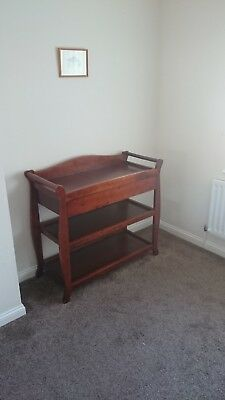 Classic Oak finish wooden baby changing table with drawer.