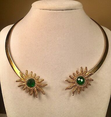 Vintage Egyptian Gold tone Collar Necklace with Green Faceted Glass