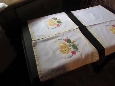3 Vintage Applique Embroidery Chairs Backs / Covers