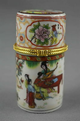 Collectable Handmade Decor Porcelain Paint Special Ancient Belle Toothpick Box