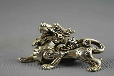 Collectable Handwork Old Miao Silver Carve Ancient Special Kylin Royal Statue