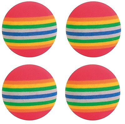 Pack of 4 Rainbow Balls Cat Kitten Toy Foam Colourful Play Ball Toys