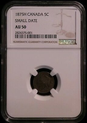 1875H 5 Cents Small Date Canada Ngc Au50