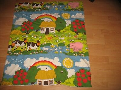"""Child's Cot Quilt with Farmyard Animals Size 34"""" x 54"""""""
