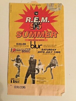 R.E.M. 1995 Concert Ticket stub, Milton  Keynes ,UK Monster Tour