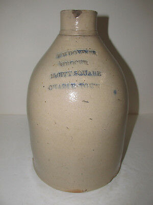 "Antique Stoneware Jug, Merchant "" F E DOWNER"" Charles Town Mass."