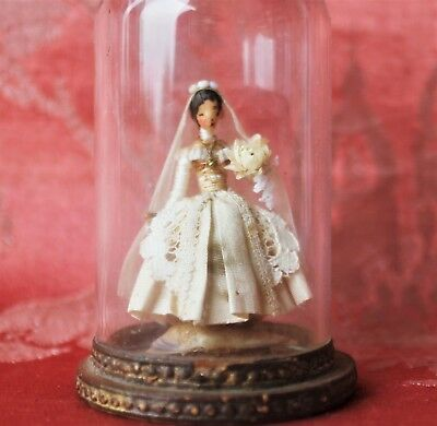 Artisan ELAINE CANNON Tiny Doll Under Dome White Silk & Lace Wedding Gown