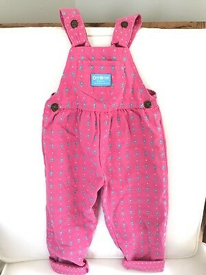 Vintage Oshkosh B Gosh Overalls Coveralls Pants Pink Floral And Polka Dots 3t