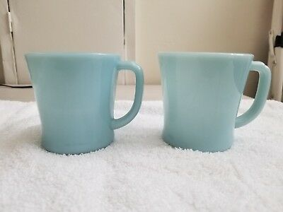 Fire King Turquoise D Handle Mugs, mint with stickers