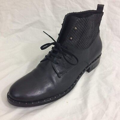 Freda Salvador Ankle Boots Sz 9 Black Leather Lace Up Studded