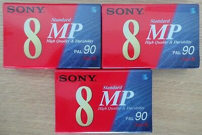3 x SONY VIDEO 8 BLANK CAMCORDER TAPE - P5-90MP2 MP90 - BRAND NEW & SEALED