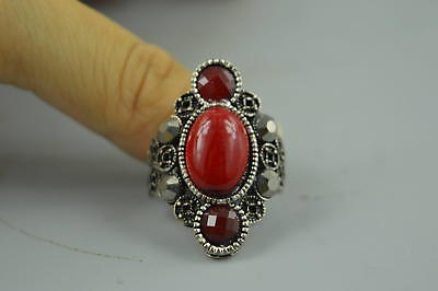 Collectible Chinese Culture Tibet Silver Carve Inlay Red Resin Rare Woman Ring
