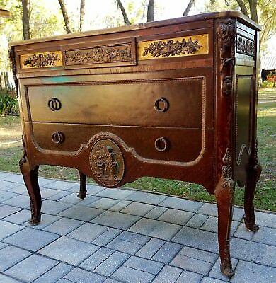 Antique Louis XVI commode credenza sideboard buffet bronze mahogany marble top