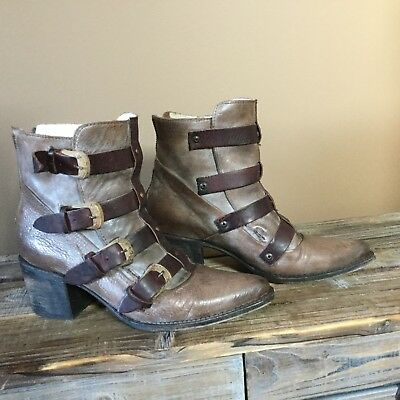 Freebird  Boots Stone Leather Strappy booties Size 8 EUC $295