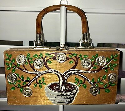Unique, Rare Wooden Box Hand Bag Purse ~ Made In Hong Kong ~ Vintage