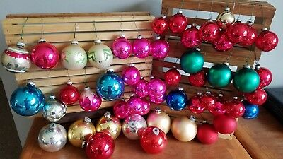 Lot of 48 Vintage Christmas Glass Ornaments Rauch HD USA Shiny Brite