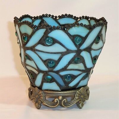 Partylite SPRING WATER VOTIVE CANDLE HOLDER Blue Stained Glass Vintage