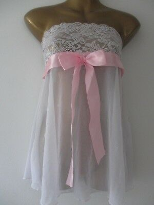 White Bandeau Babydoll Stretchy Lace With Satin Pink Bow Size 10-14